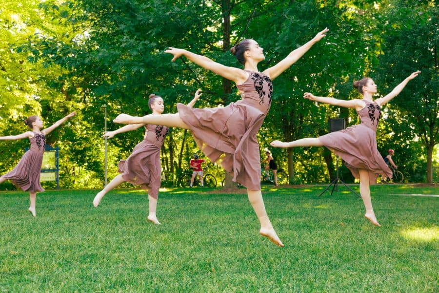 The Young Company dancing in the park